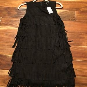 NWT Black Fringe Mini Dress Forever 21